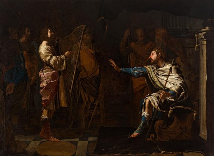 David Playing Harp to Saul