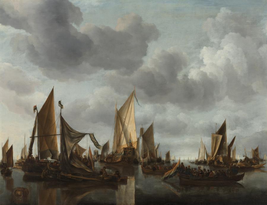 Kalme zee met zeilschepen