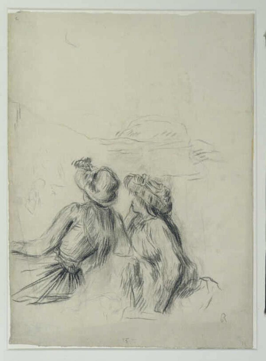 Two Girls Seated Outside