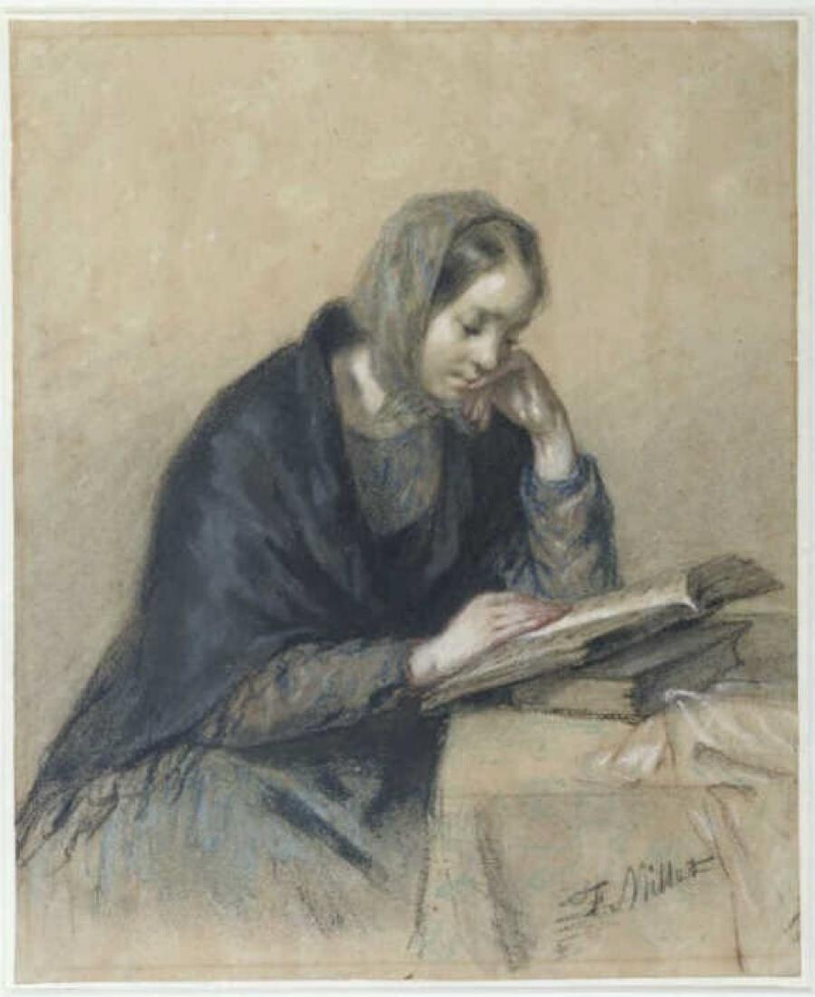 Seated Woman Reading at a Table, Portrait of Pauline Ono, the Artist's First Wife