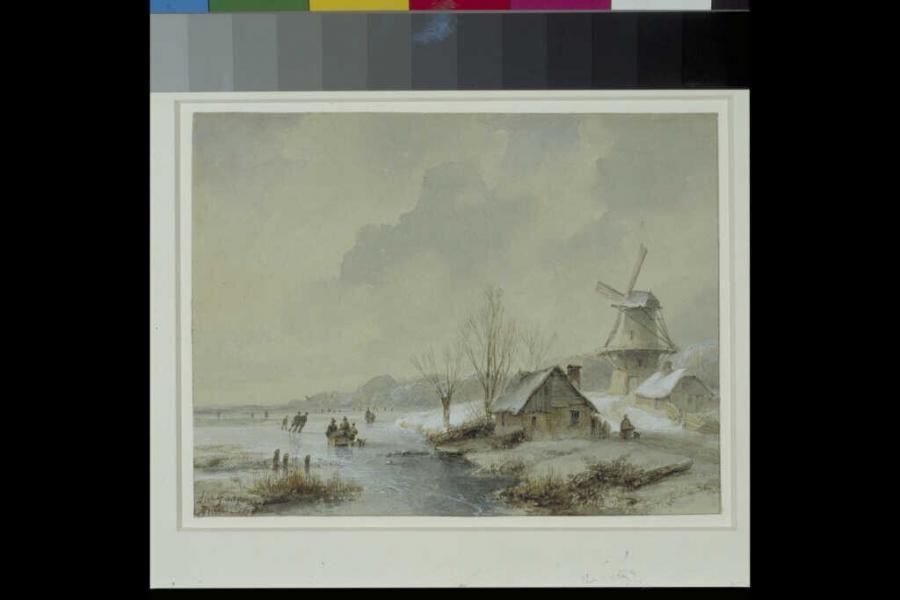 Winterlandschap met twee huisjes en een windmolen aan een vaart