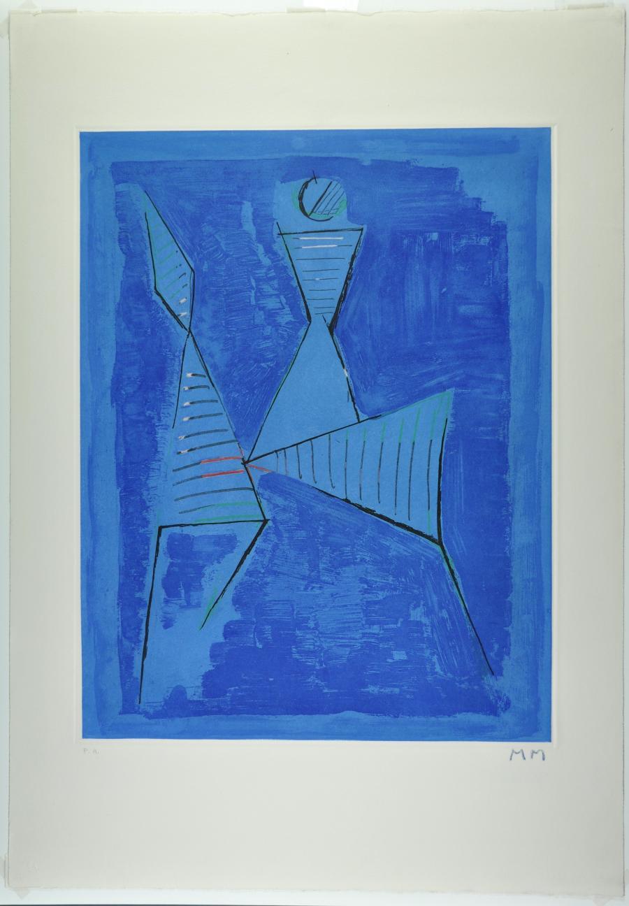 Abstracte compositie met ruiter en paard