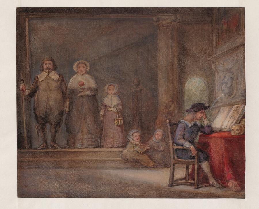 Familieportret in interieur, kopie naar het in 1864 verbrande schilderij in Museum Boymans