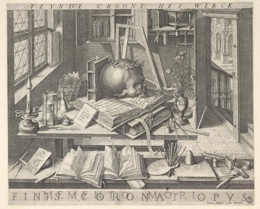 Still Life with Skull, Sandglass, Books, and Artist's Utensils