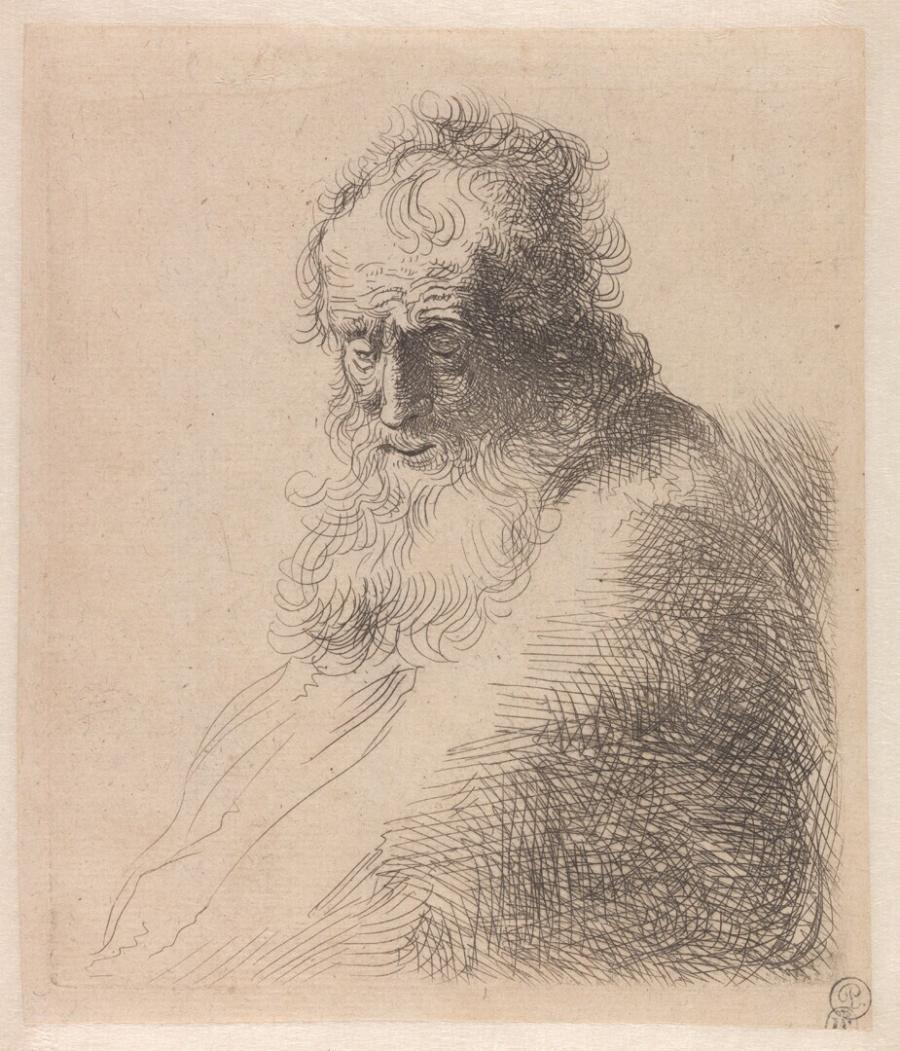 Buste van een oude man met baard, naar onder kijkend