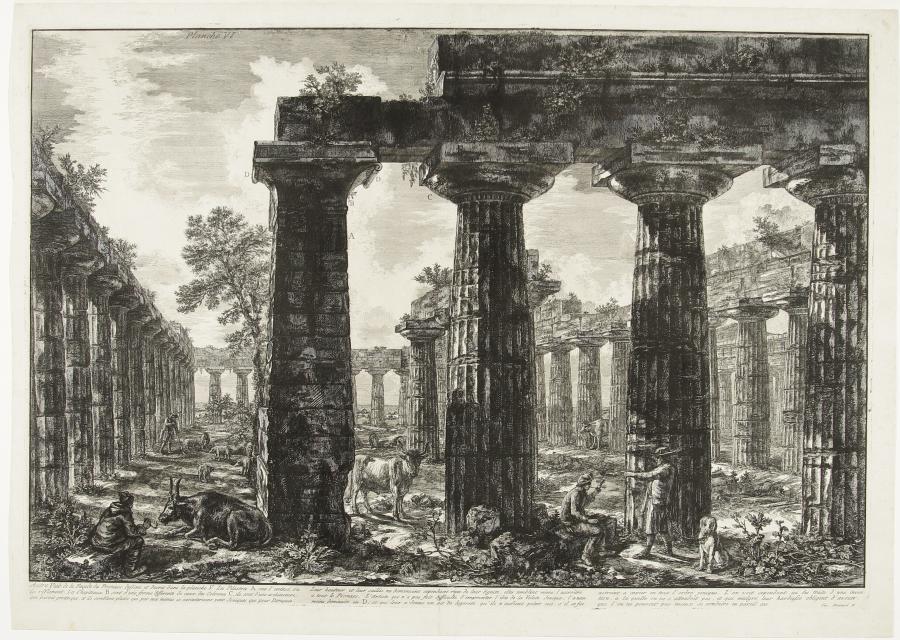 Gezicht op de Eerste Tempel van Hera in Paestum