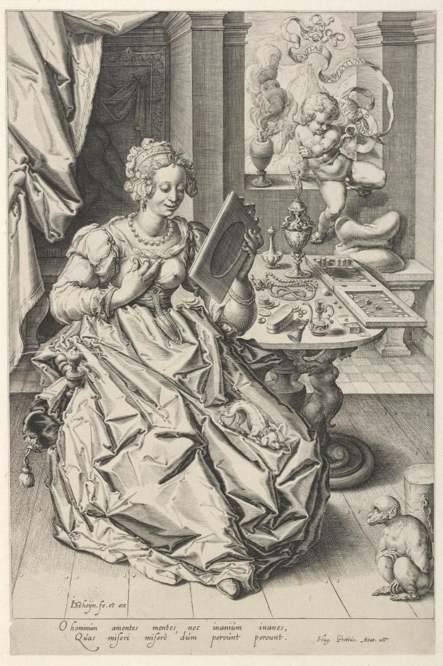 Vanitas: een jonge vrouw met een spiegel en een putto