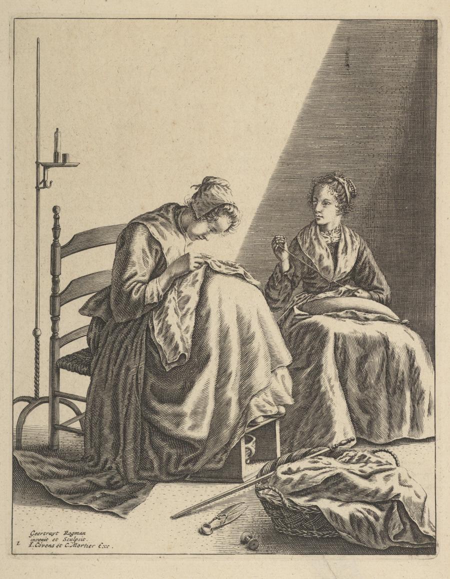 Twee naaiende vrouwen