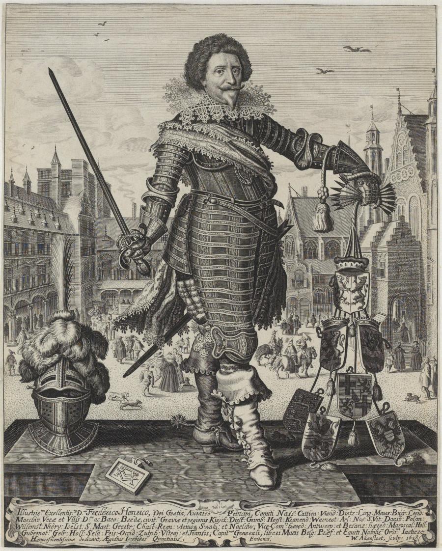 Portret van Frederik Hendrik voor het Binnenhof in Den Haag