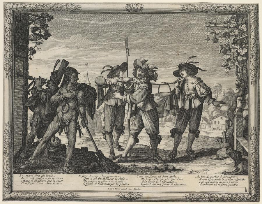 Vijf jongemannen, waarvan één de trompet blaast