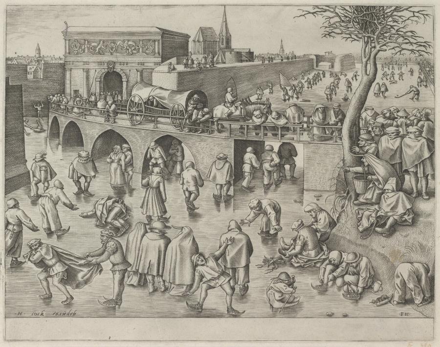 Schaatsers voor de Sint-Jorispoort in Antwerpen