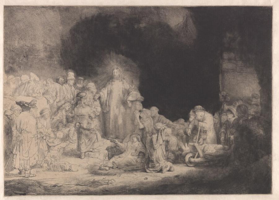 Christus zegent de kinderen en geneest de zieken ('Honderdguldenprent')