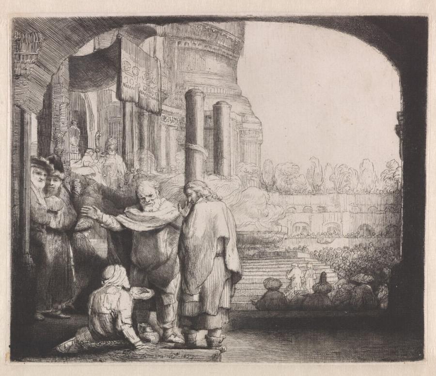 Petrus en Johannes genezen een lamme bij de tempelpoort