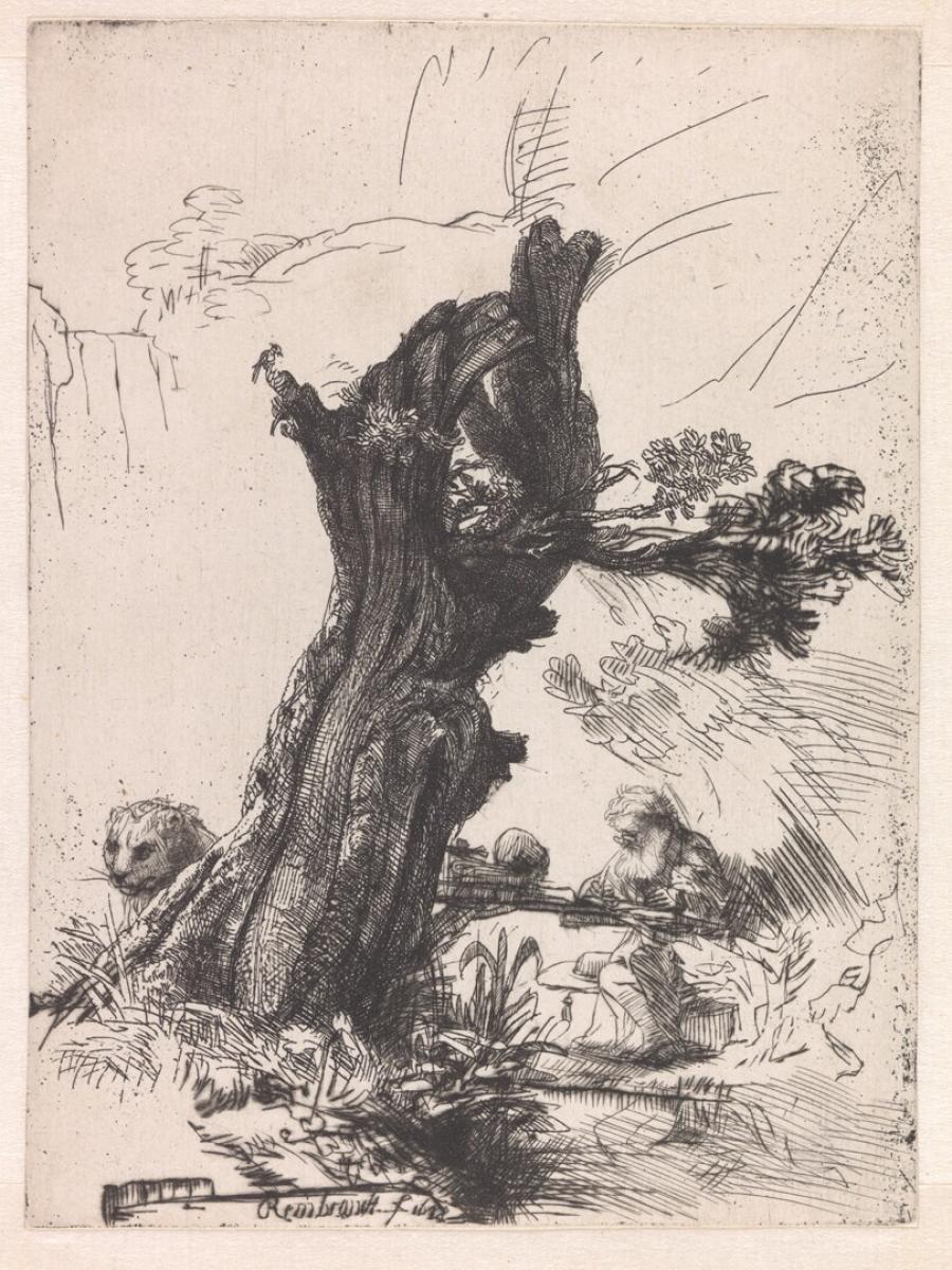 De heilige Hieronymus bij een knotwilg