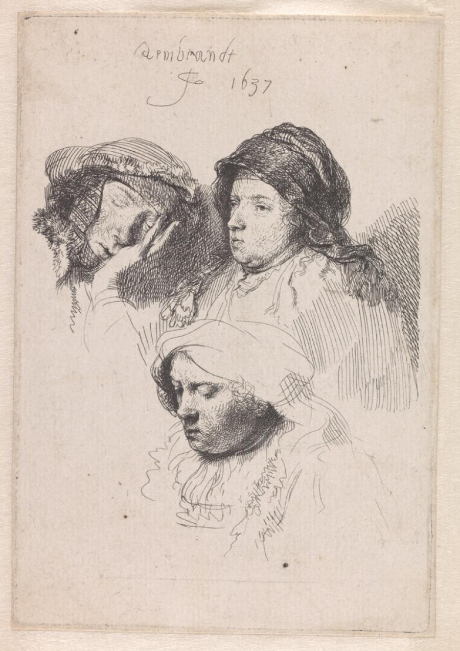 Drie vrouwenkoppen, waarvan één slapend