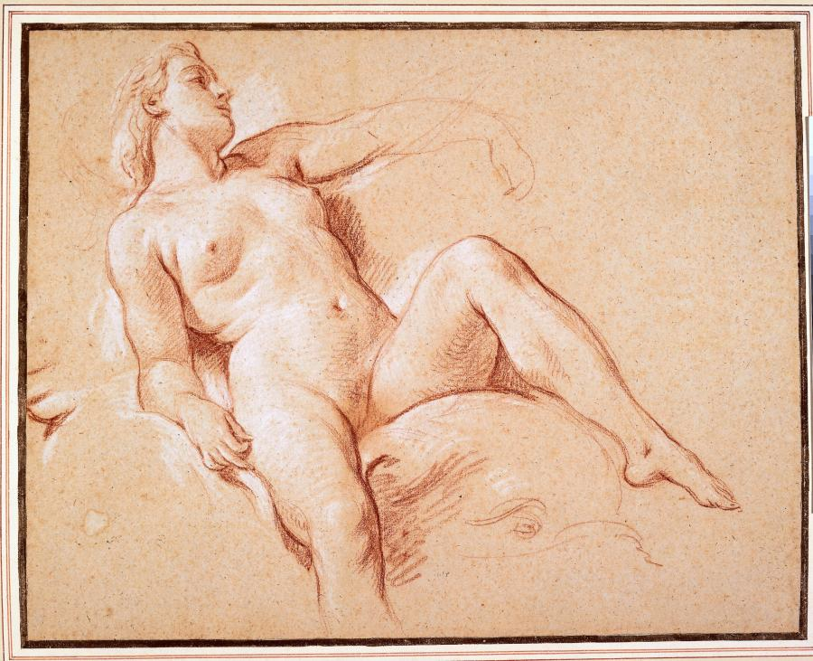 Reclining Female Nude on a Dolphin