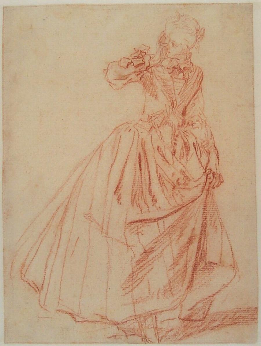 Staande vrouw (voortekening voor detail in het schilderij 'Le Jeu de Cache-Cache Mitoulas')