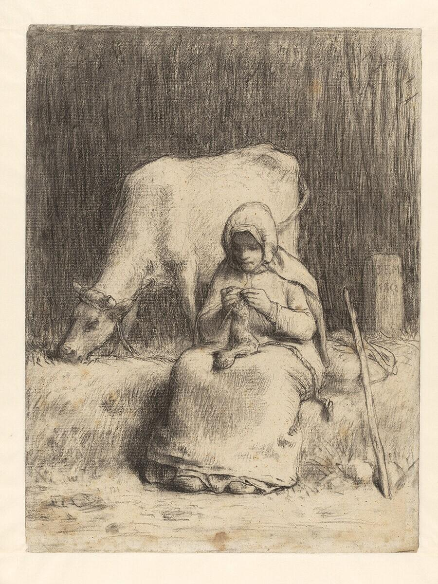 Peasant Girl Seated Near Her Cow