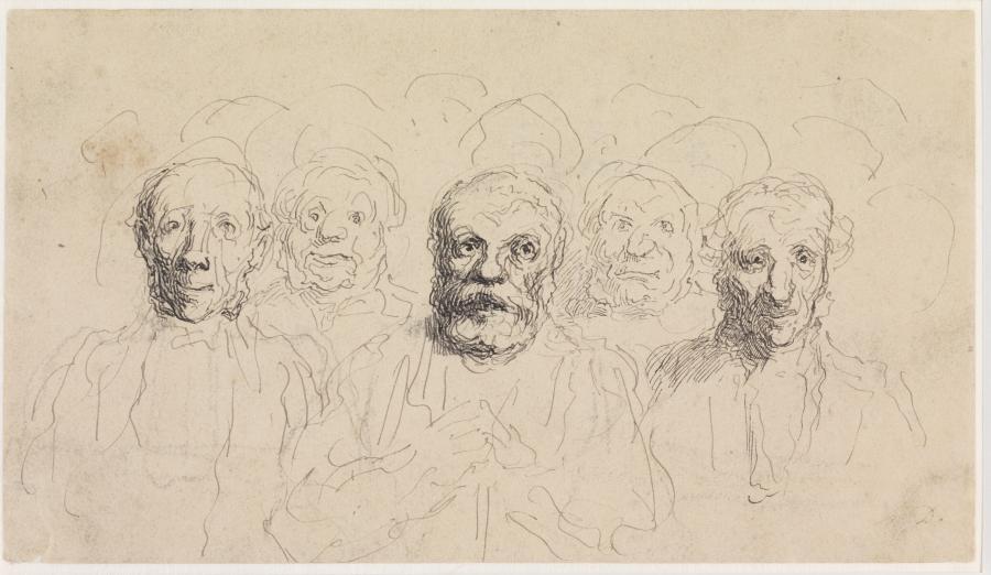 """Studie van vijf mannenkoppen in een menigte (""""Spectateurs au Théâtre"""")"""