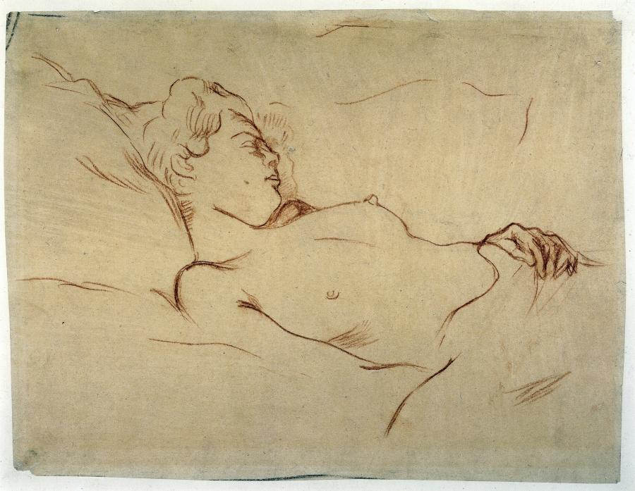 Sleeping Naked Woman in Bed, Study for the Lithograph 'Le Sommeil' (Sleep)