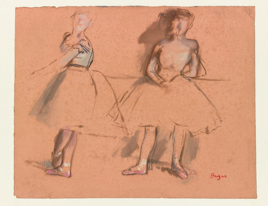 Twee balletdanseressen aan de barre