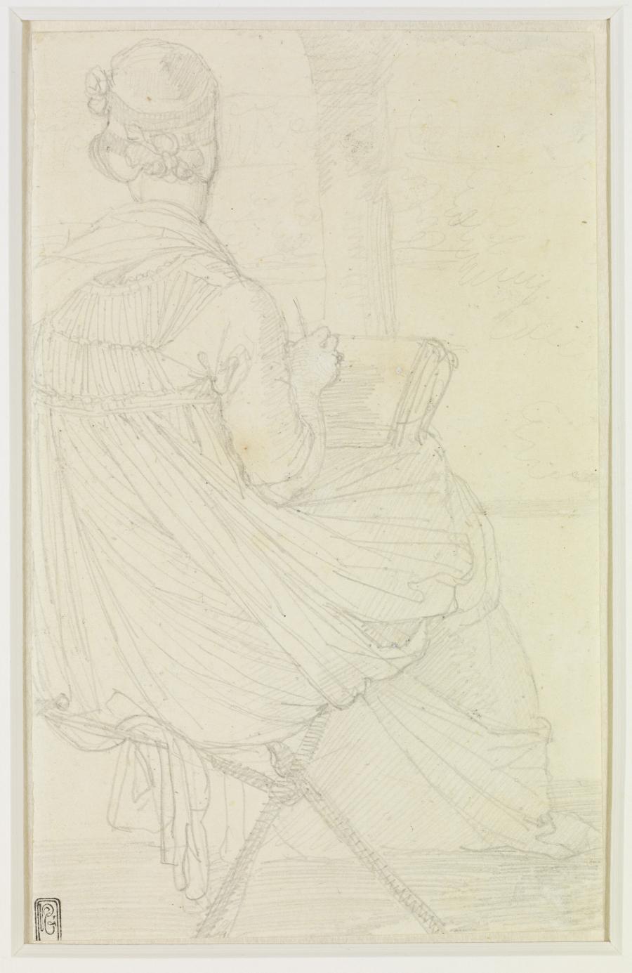 De Engelse kunstenares Elisabeth Harvey tekenend, zittend en gezien op de rug