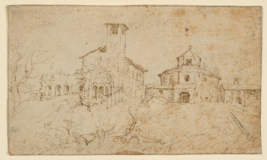 Gezicht op de kerken Santa Constanza, Sant' Agnese fuori le mura en de restanten van de Basiliek van Sant' Agnese