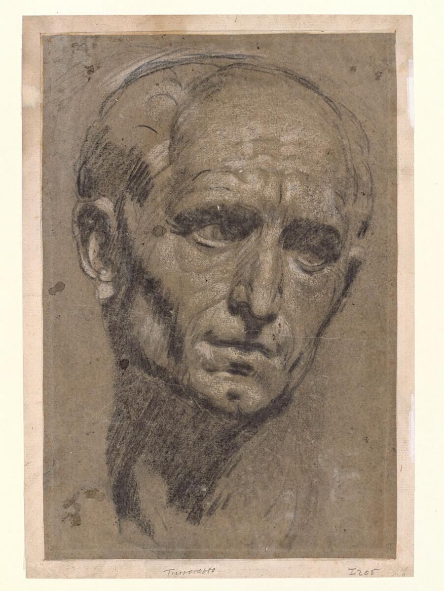 Studie naar een antieke buste van Julius Caesar (recto), kopie van de recto tekening (verso)