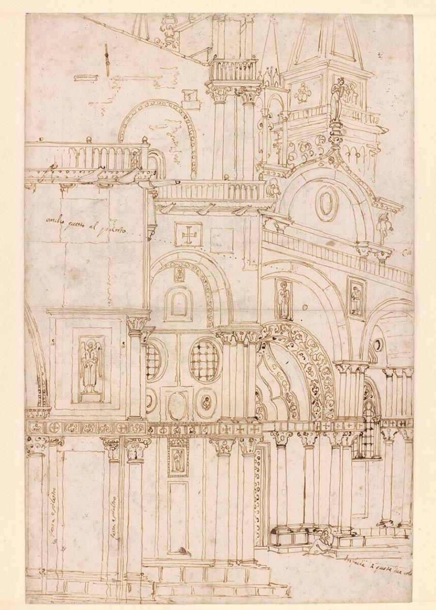 Architectural study of the Northern Facade of the Basilica di San Marco opposite S. Basso in Venice