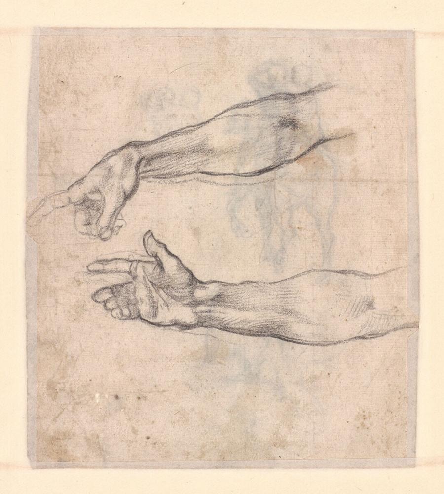 Studies van twee naakte ruiters op een paard voor 'De slag bij Cascina' (recto), Studies van een uitgestrekte rechter onderarm voor het fresco 'De dronkenschap van Noach' (verso)