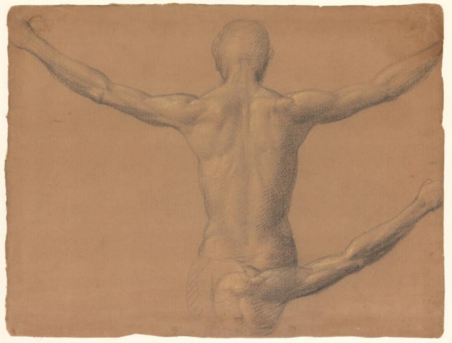 Twee studies van het naakte bovenlichaam van een man met gespreide armen, van achteren gezien