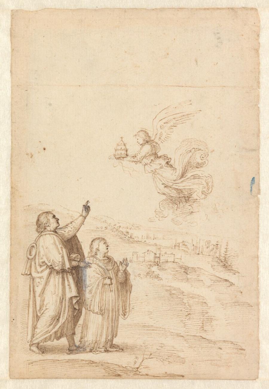 Twee mannen in een landschap met een vliegende engel die een van hen een tiara aanbiedt