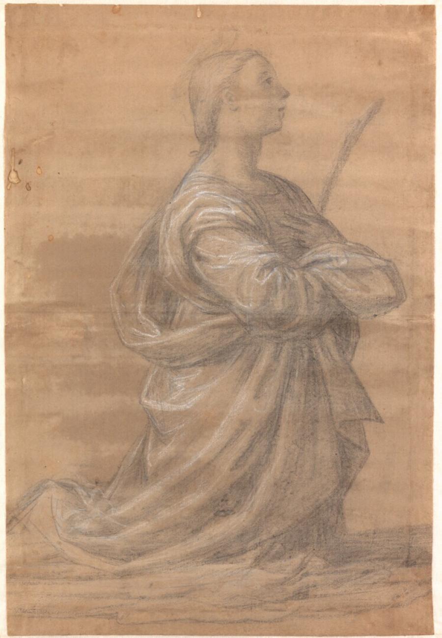 Studie voor een knielende vrouwelijke heilige met een palmtak