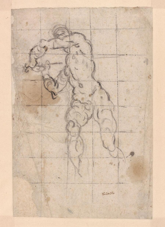 Sudy for a man swinging his sword, for the Defense of Brescia on the ceiling of the Sala del Maggior Consiglio in the Palazzo Ducale, Venice