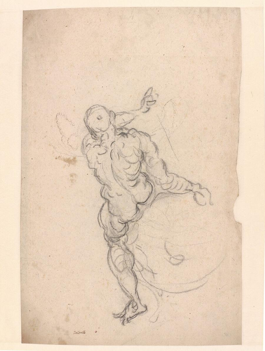 Study of a male nude, seen from the back, seated on a globe