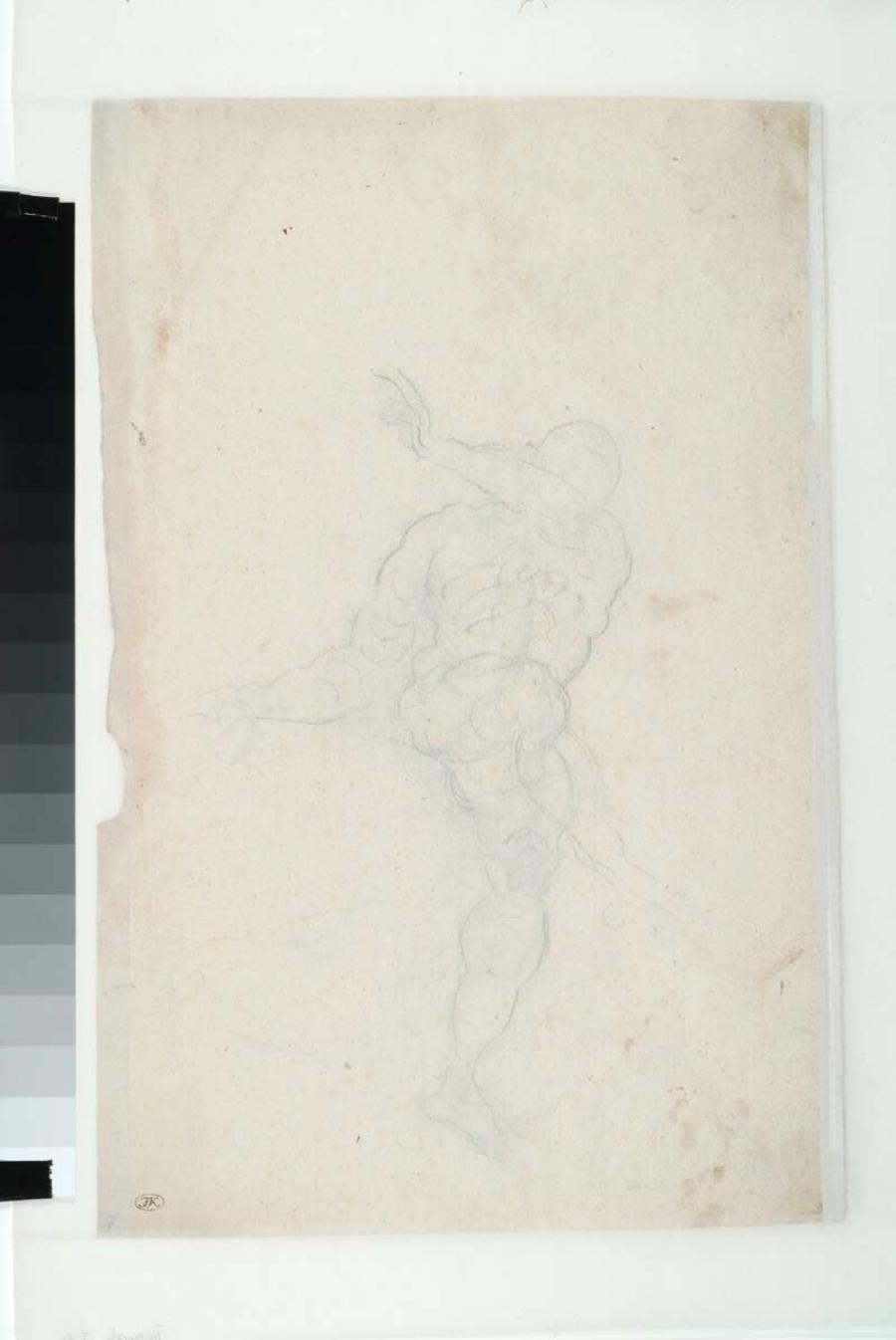 Study of a male nude, seen from the front, seated on a globe