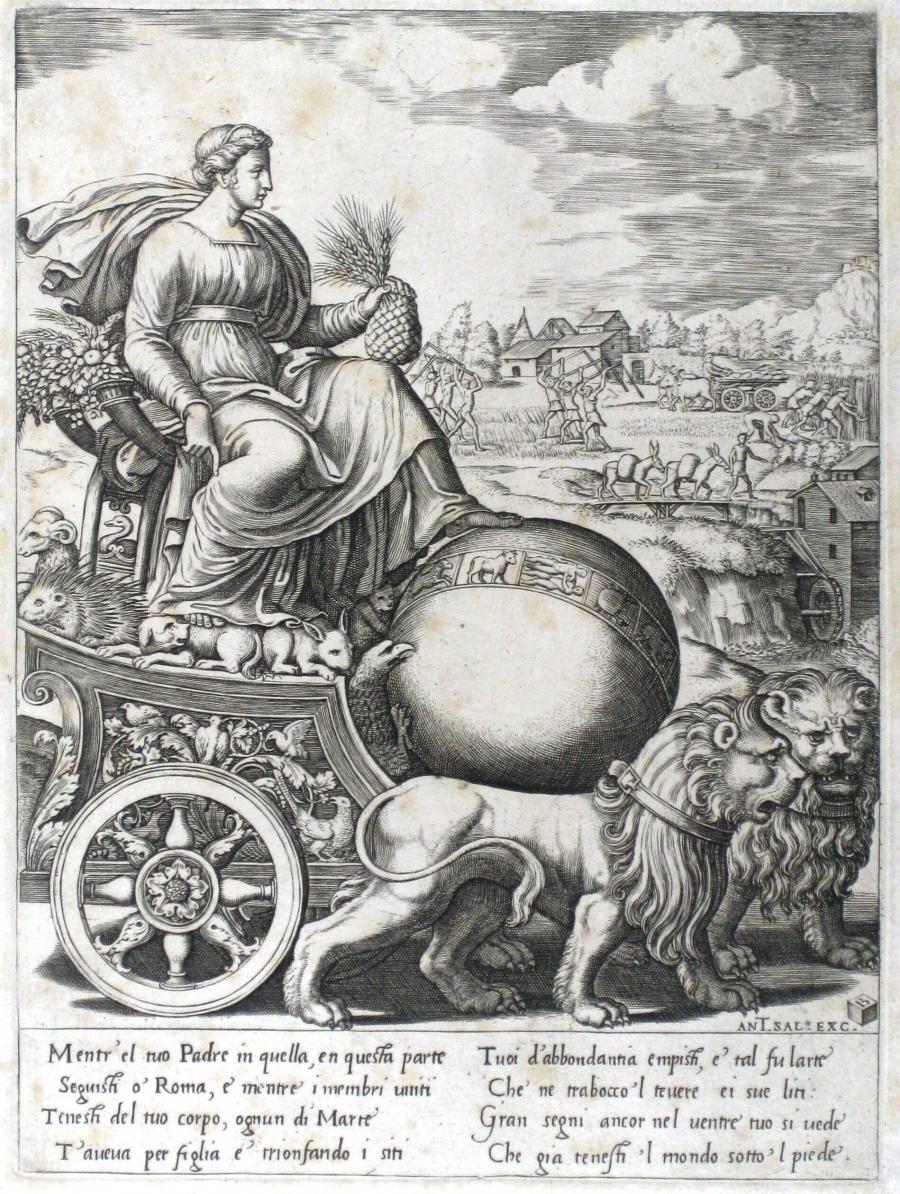 Cybele in haar triomfwagen