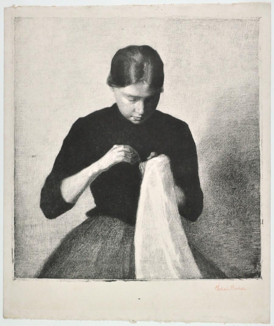 Jong meisje, bezig met naaiwerk