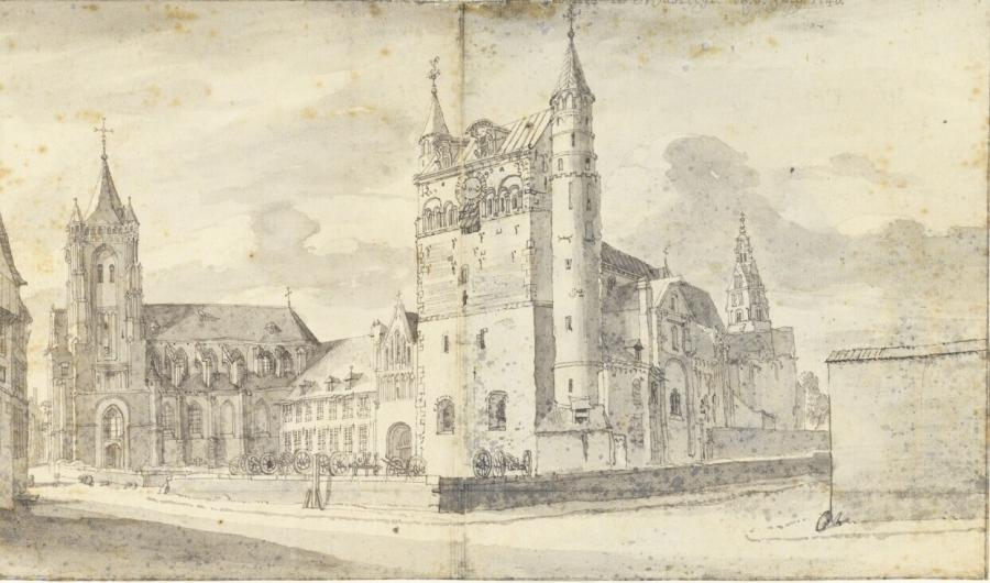 The Church of Our Lady and St. Nicholas Church in Maastricht seen from the South-West (Limburg Province)