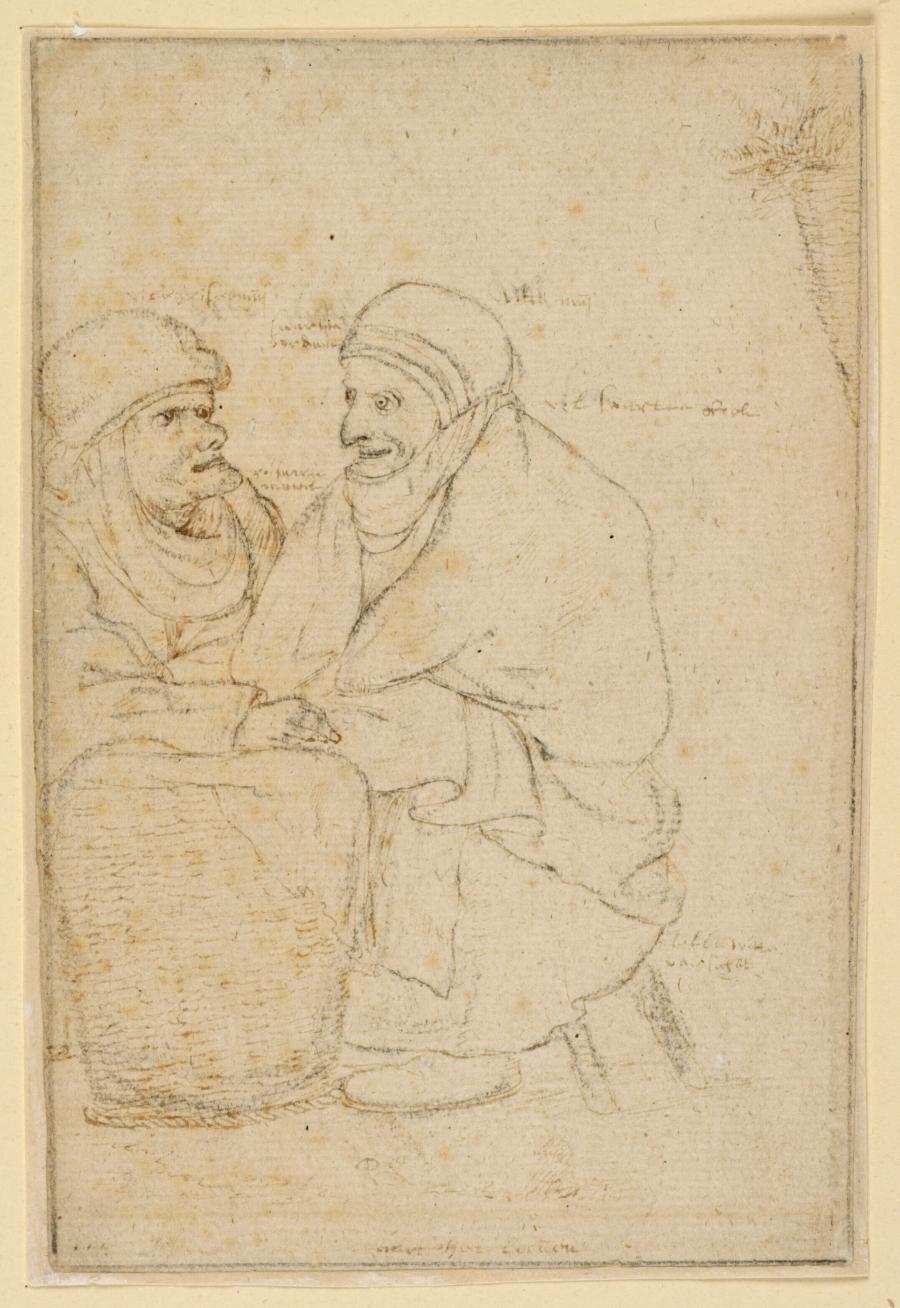 Twee marktvrouwen bij een mand