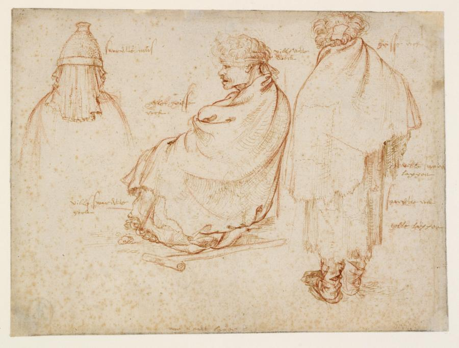Two Beggars and a Woman's Headdress