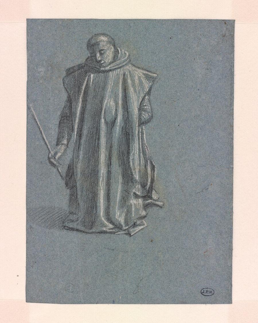 Studie van een knielende monnik