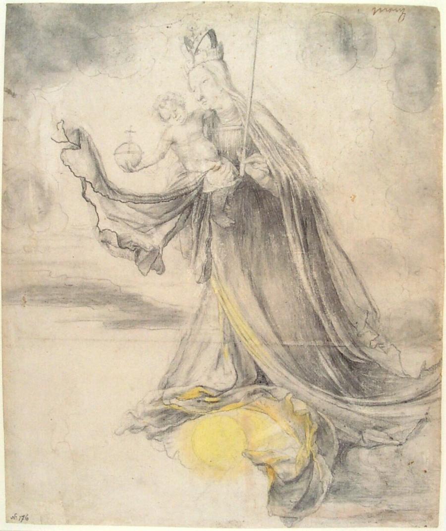 Maria met Christuskind op de wolken