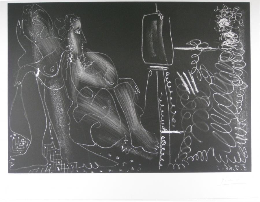 Schilder aan zijn ezel met twee naakte vrouwen