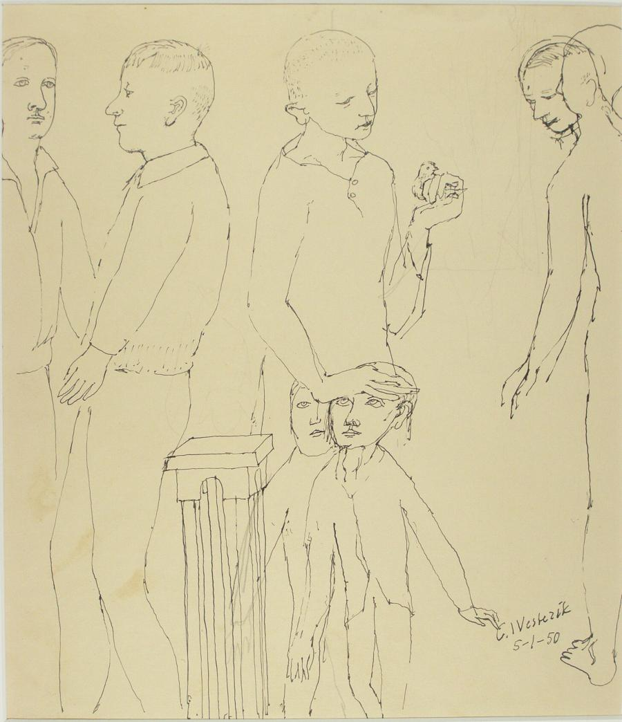 Sketch sheet with boy with small bird