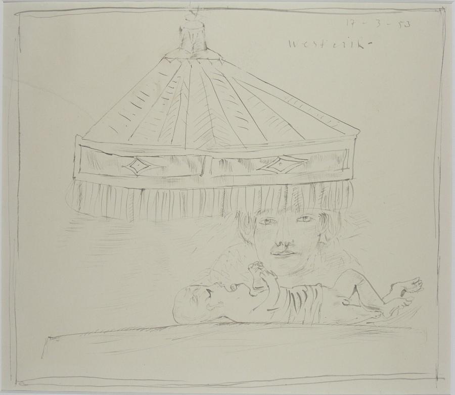 Vrouw en kind onder huiskamerlamp (nr 1)