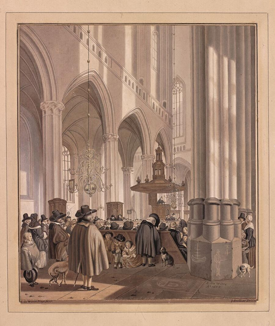 Church Interior: the Nieuwe Kerk in Amsterdam (after a painting by Emanuel de Witte)