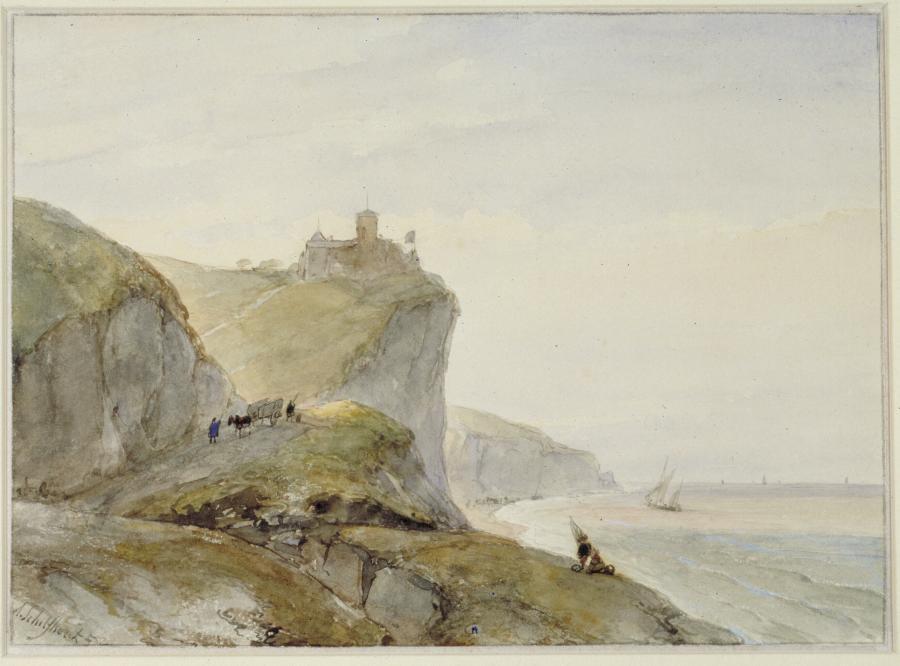 Een gezicht op de Noord-Franse kust met een fort op een hoge klif