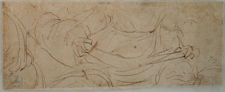 Schets van een zittende vrouw met een boek (?) op haar schoot (fragment)