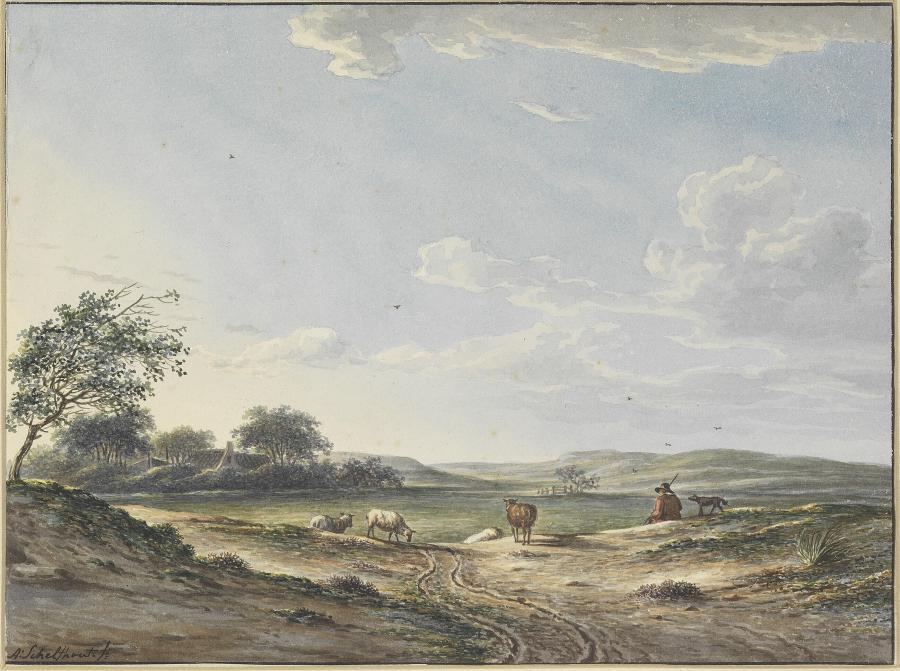 Duinlandschap met herder en schapen